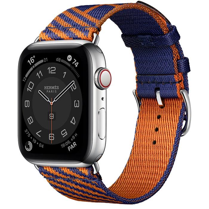 Apple Watch Hermes Series 6 40mm Stainless Steel GPS + Cellular Boîtier en acier inoxydable argent, Bracelet Simple Tour Jumping Bleu Saphir/Orange