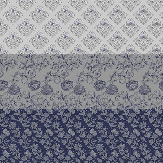 Хлопок Перкаль - Бордюр Винтаж сине-серый цветок 25х75 см.