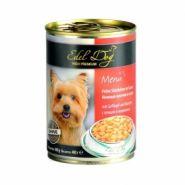 """Edel Dog Влажный корм для собак """"Нежные кусочки птицы с морковью"""", 400 гр"""
