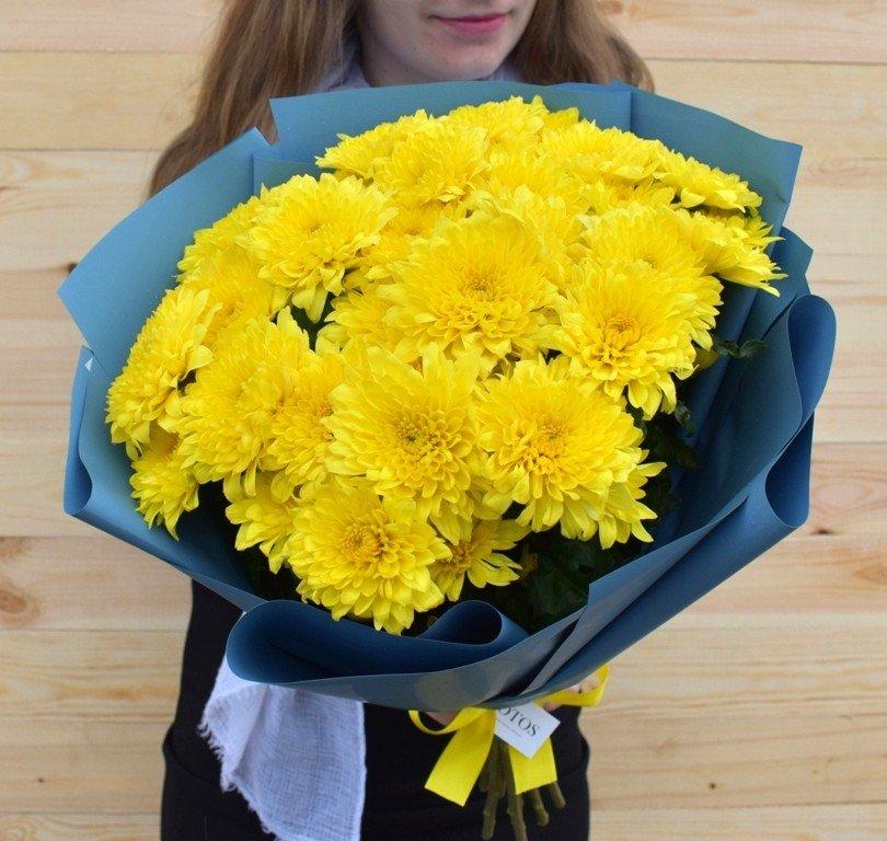 Акция! 7 желтых хризантем в красивой упаковке