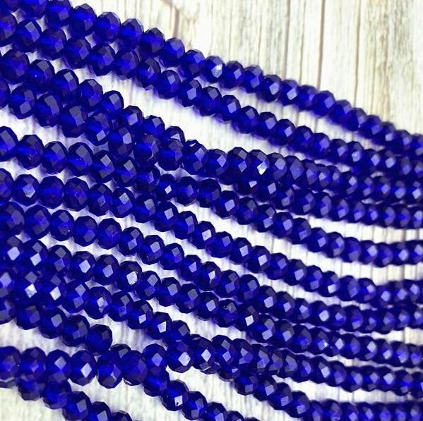 Бусины граненые Рондель (стекло) на нити цвет № 14 прозрачный синий Разные размеры (LSR-14)