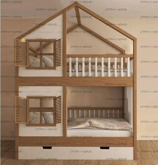 Кровать двухъярусная, Кровать-домик Roof №5В