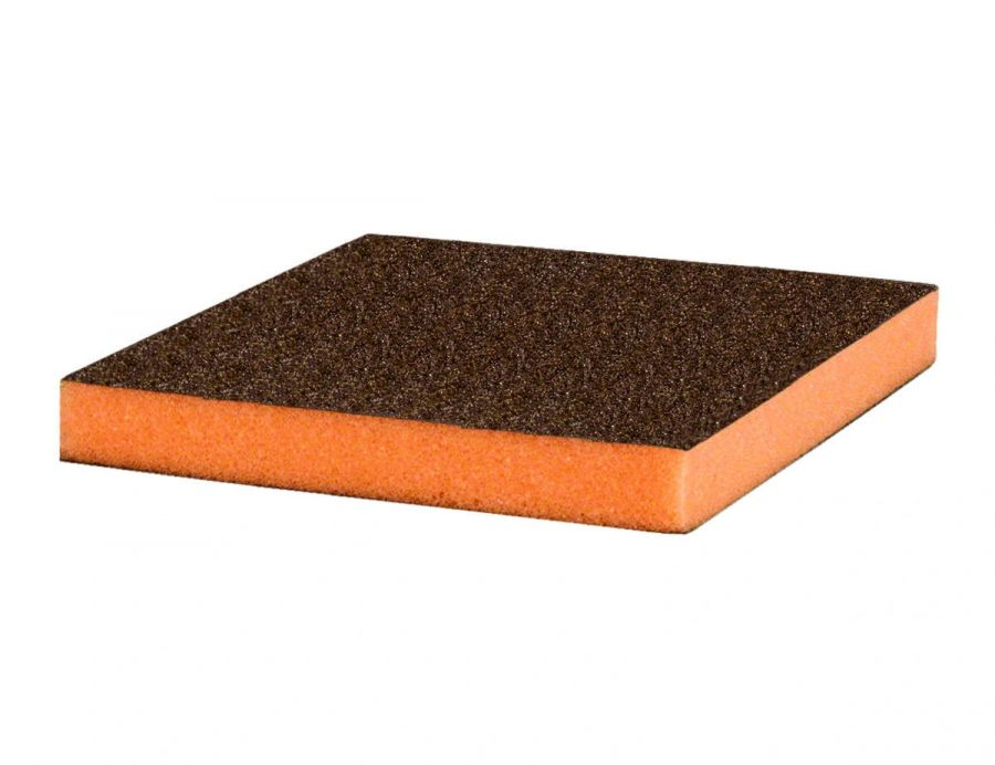 Р280 Siasponge flax pad Абразивная губка двусторонняя 98х120х13 мм, (Оранжевая)