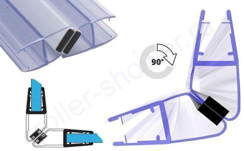 Угол 90 град. Уплотнитель для душевых кабин магнитный, для стекла(4,5,6,8,10мм)