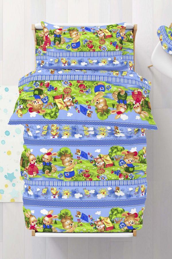 Бязь 1.5 спальный [голубой] Веселый поход постельное белье