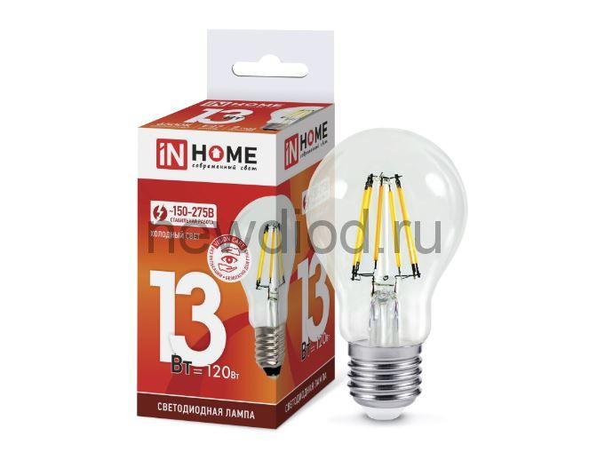 Лампа светодиодная LED-A60-deco 13Вт 230В Е27 6500К 1170Лм прозрачная IN HOME