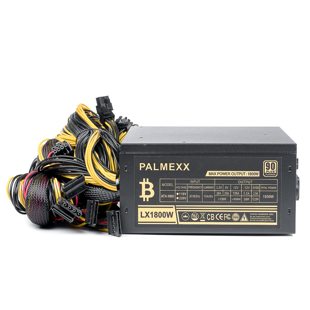 Блок питания PALMEXX ATX 1800W 90PLUS Platinum ATX-1800 8xSATA, 5xmolex, 24pin, 1x(4+4)pin, 14x(6+2)pin