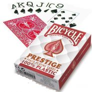 Bicycle Prestige 100 Plastic Poker Playing Cards Deck Jumbo Index Red