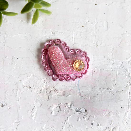 """Патч 3D, с декором """"Сердце розовое"""" 3,7*2,5 см., 1 шт."""
