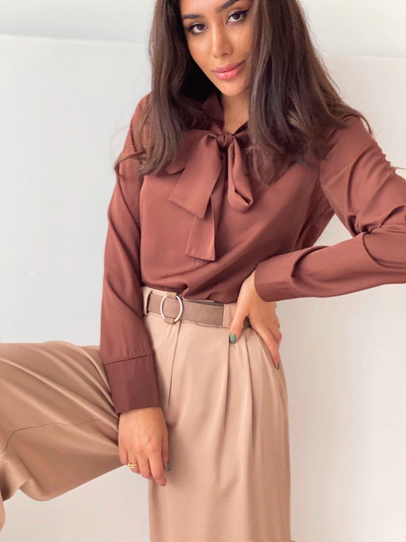 2259 Блуза с завязками в цвете Шоколад