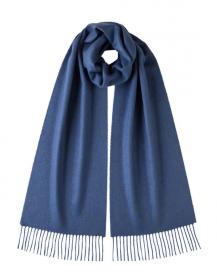 однотонный кашемировый шарф (100% драгоценный кашемир), новый ярко- синий цвет  New Bright Blue, высокая плотность 7
