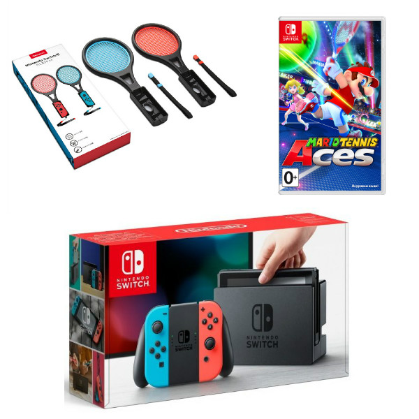 Игровая приставка Nintendo Switch (Neon Red/Neon Blue) + Mario Tennis + Ракетки