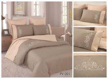 Комплект постельного белья Перкаль с вышивкой  1.5-спальный  Арт.PV-001-1