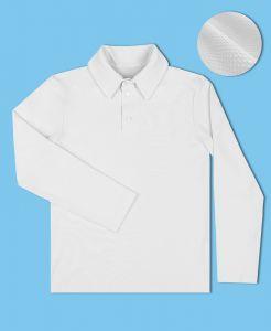 6630-МШ16 Белая рубашка-поло с длинным рукавом в ткани пике Радуга дети