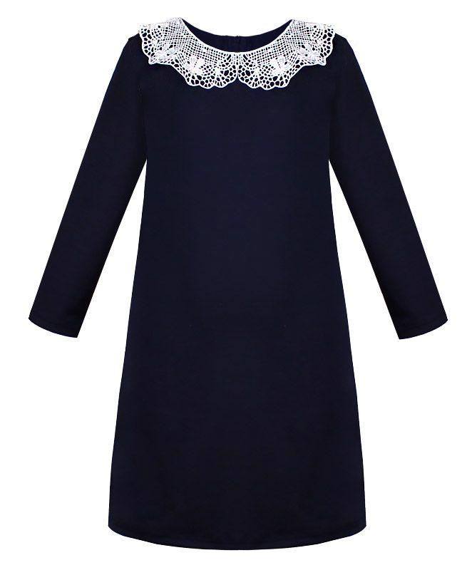 Синее школьное платье для девочки