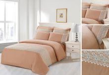 Комплект постельного белья  Сатин  с цветным кружевом  евро  Арт.SZV-002-3