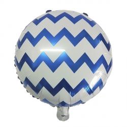 Синий зигзаг круглый фольгированный шар с гелием