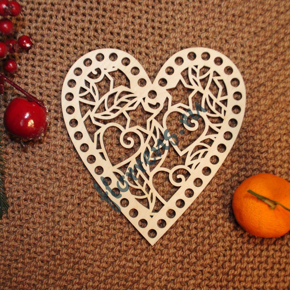 Крышка из фанеры / 15 * 16 см, сердце