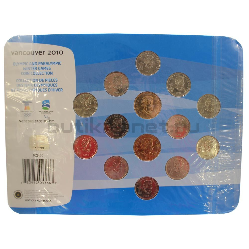 Набор монет 2007-2010 Канада Олимпиада в Ванкувере (14 штук)