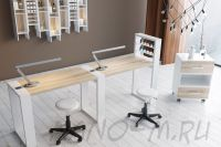 Двухместный маникюрный стол Matrix с подставкой для лаков и тумбой - фото 4