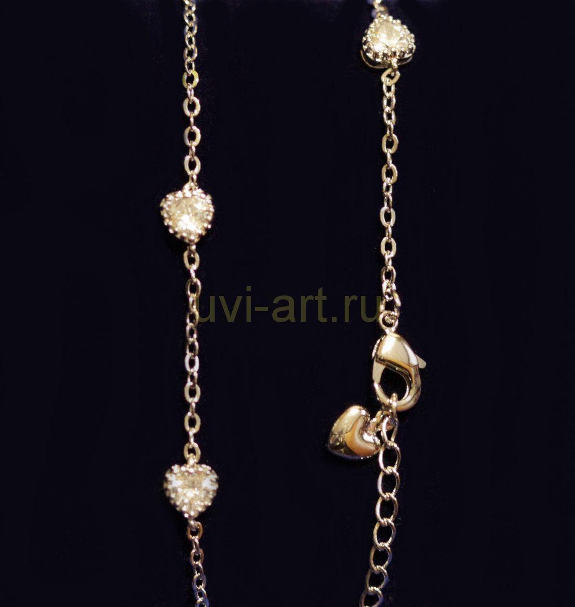 Посеребренный браслет с циркониевыми сердечками (арт. 880155)