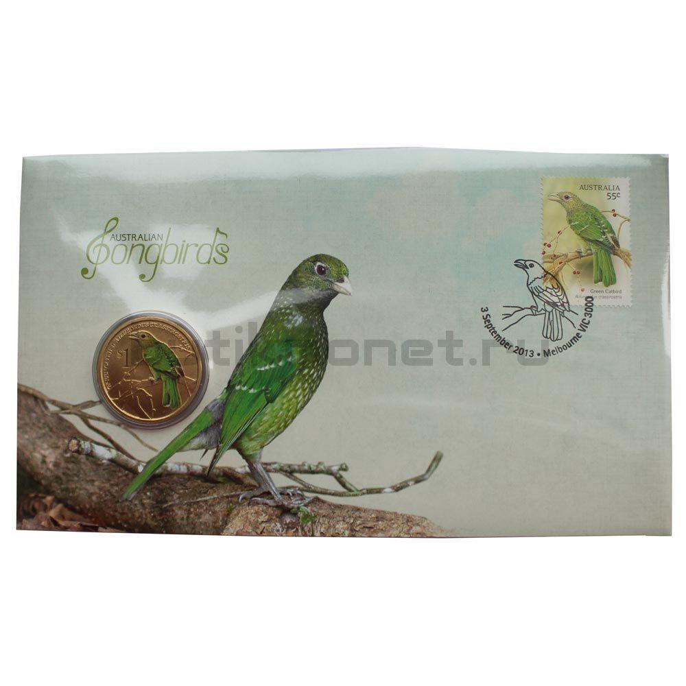 1 доллар 2013 Тувалу Зелёная птица-кошка (Австралийские Водяные Птицы) в буклете