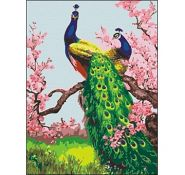 "Холст с красками ""Павлины в саду"" 30х40 см по номерам (арт. ST003)"