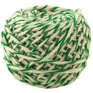 Шнур хлопковый бело-зелёный, 2 нити, 50 м