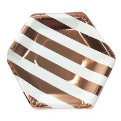Тарелки шестиугольные розовое золото