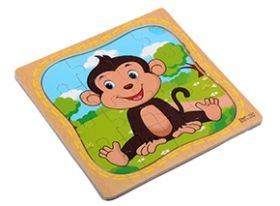 "Пазл-рамка деревянная для малышей ""Обезьянка"" 12 эл. (15х15 см) (арт. ИД-9974)"