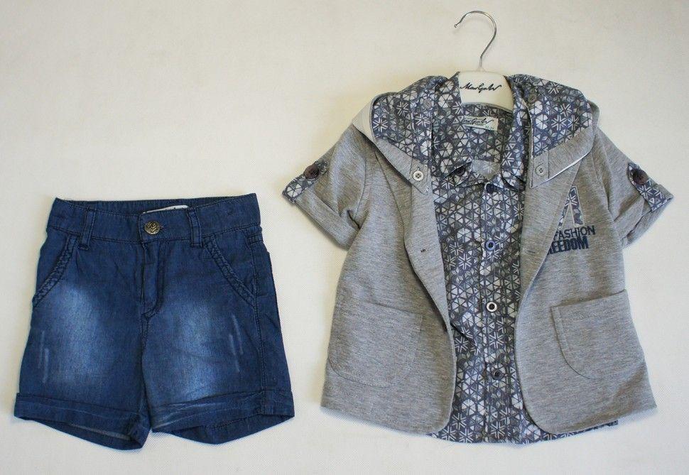 Костюм летний для мальчика (жакет, рубашка , шорты) Серый