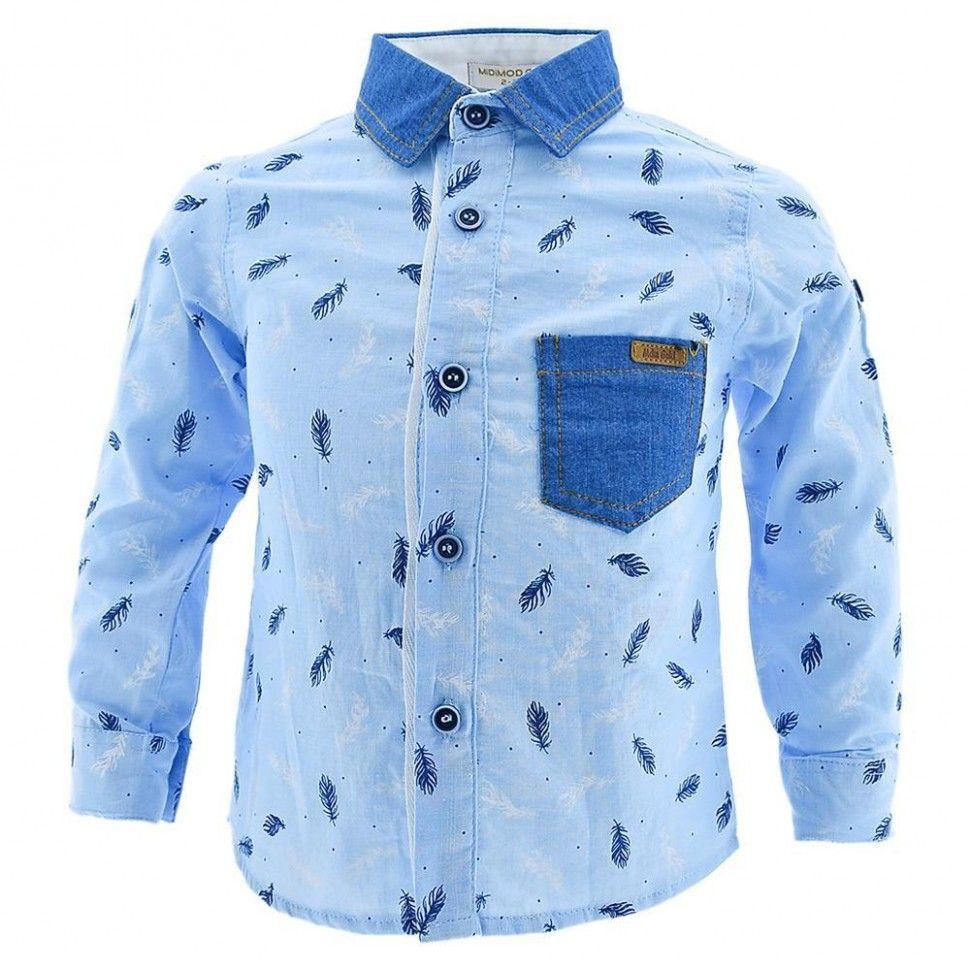 Рубашка с длинным рукавом и принтом для мальчика 6-12 (голубой)