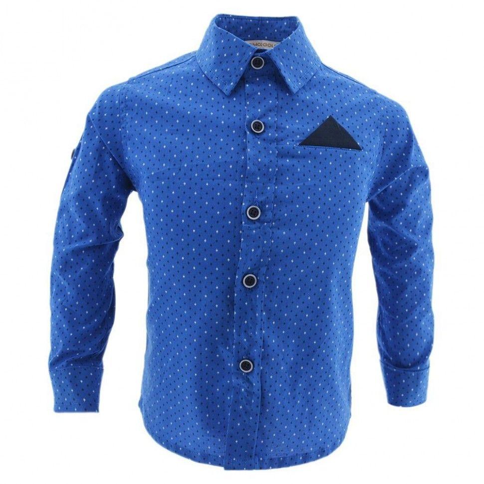 Рубашка с длинным рукавом для мальчика 6-12 (синий)