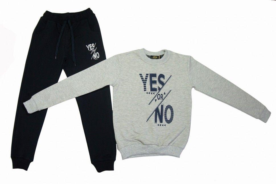 """Спортивный комплект """"YES or NOT"""" для девочки : свитшот, брюки 5-8 (серый)"""