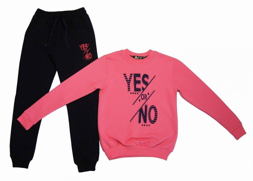 """Спортивный комплект """"YES or NOT"""" для девочки : свитшот, брюки 9-12 (розовый)"""
