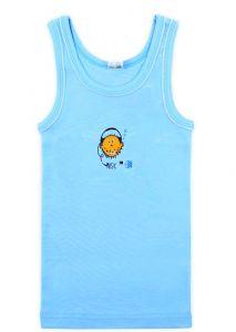 К1068 Майка для мальчика голубая с оранжевой рыбкой от Крокид
