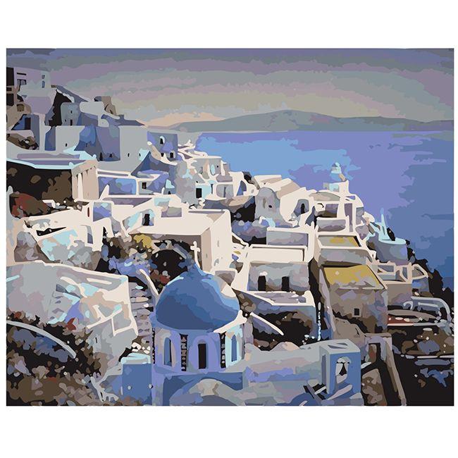 Роспись по холсту Греция на закате 40х50см