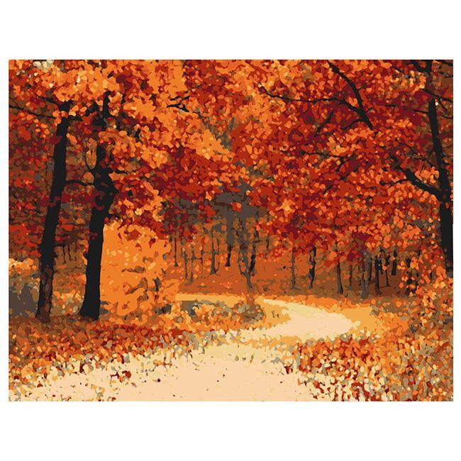 Роспись по холсту Осенняя тропа 40х50см