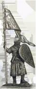 Русский дружинник со стягом, 13 век (олово)