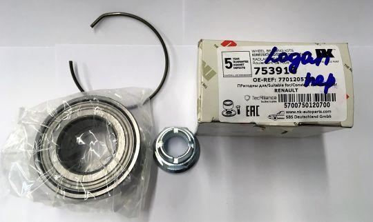 Подшипник ступичный передний  Logan без ABS NK (753910)