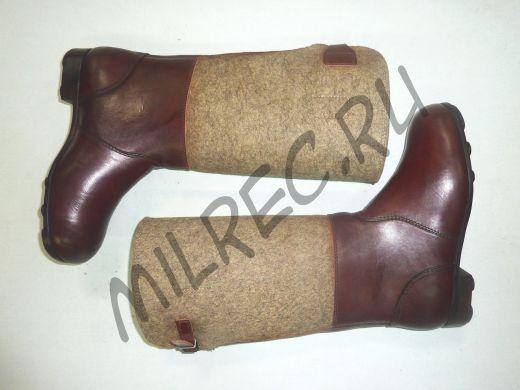 Сапоги немецкие, зимние (Filzstiefel), с утяжками на голенищах и чепрачными шайбами на подошвах,  реплика. Под заказ.