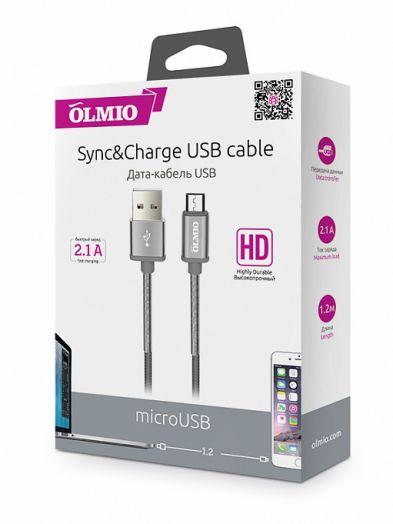 Кабель HD, USB 2.0 - microUSB, 1.2м, 2.1A, серый, металлические штекеры, нейлоновая оплетка, пружинный сгиб, OLMIO