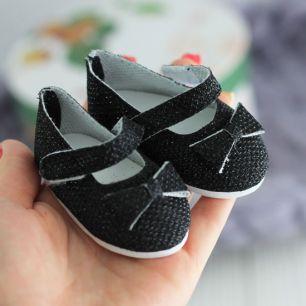 Обувь для кукол 7,5 см - сандалики блестящие с бантом Черные