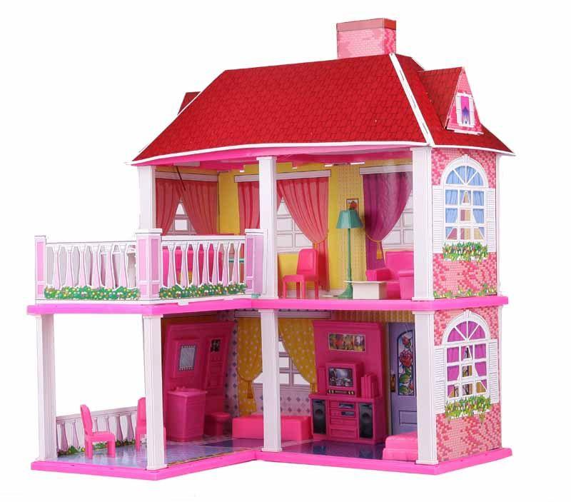 6980 Домик для кукол с мебелью 5 комнат с верандой