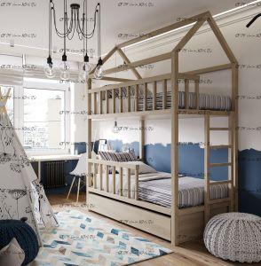 Кровать двухъярусная Домик №В3