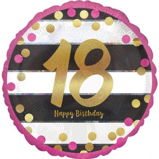 18 лет золотые цифры на полосатом фоне шар фольгированный с гелием