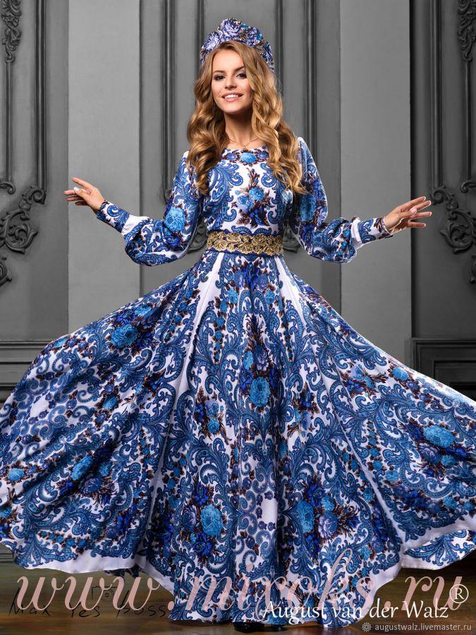 Платье в русском стиле в пол
