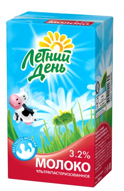 Молоко Летний День ультрапаст  0.95 Жирность 3,2%