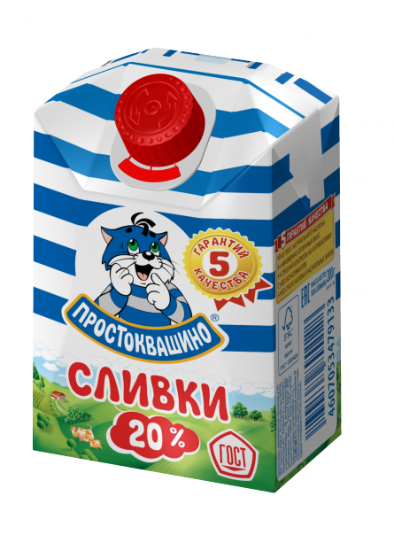 Сливки Простоквашино  20% комбифит 0,2