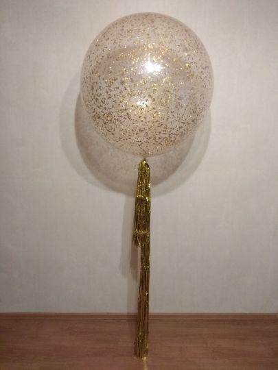 Метровый шар с конфетти и хвостом Дождь